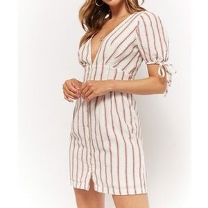 Forever 21 Plunging Striped Linen Dress